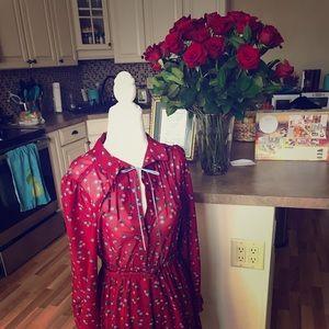 Dresses & Skirts - Red dress, chiffon top, long sleeves